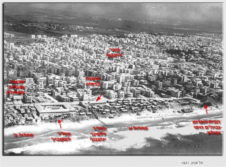 צילום אוויר של כל מתחם שכונת מחלול ומצוק הכורכר - כיום כיכר אתרים, צילום: אתר תל אביב 100