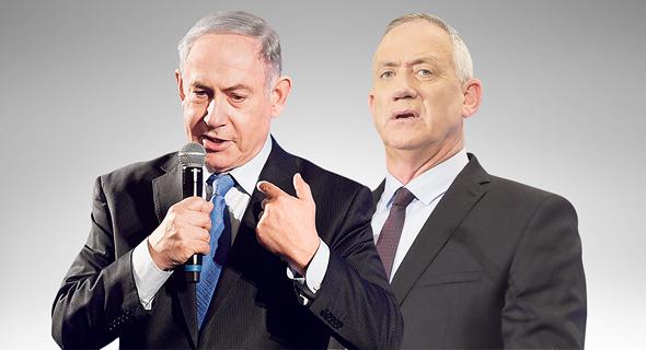 """מימין: יו""""ר כחול לבן בני גנץ וראש הממשלה בנימין נתניהו. רה""""מ ממלכד את כל גורמי האכיפה, צילום: דנה קופל, יאיר שגיא"""