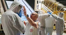 """מד""""א טיסה מטוס קוריאן אייר בדרך ל ישראל מ דרום קוריאה נגיף קורונה, צילום: דוברות מד""""א"""