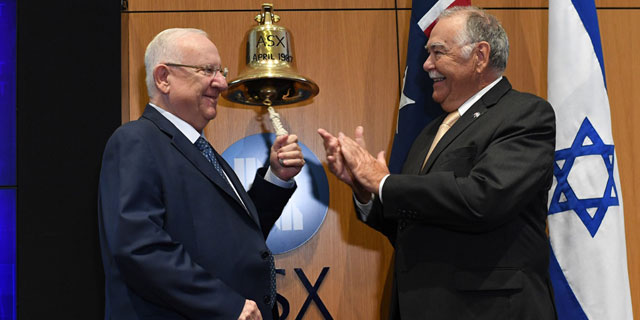 Israeli President Reuven Rivlin visits the Australia Stock Exchange. Photo: Kobi Gideon/GPO