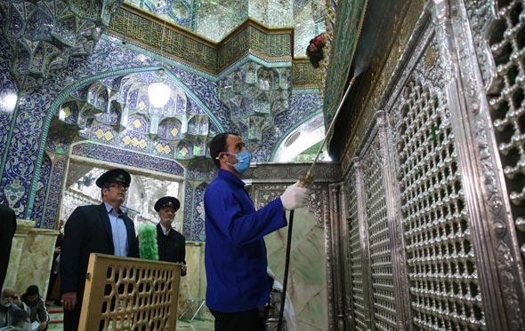 חיטוי מסגד פטימה מסומה בעיר קום, אתמול