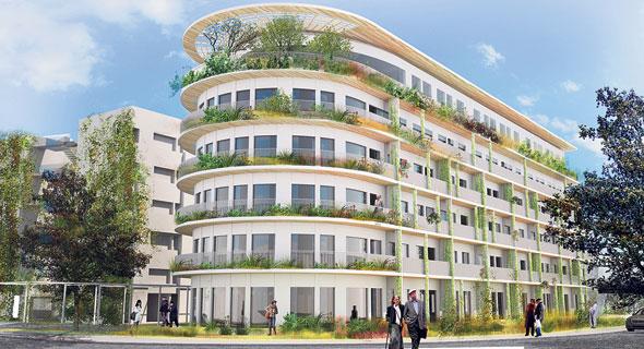 הדמיית המבנה בבית גיל הזהב בהרצליה פיתוח. 111 דירות לקשישים יתווספו ל־72 הקיימות