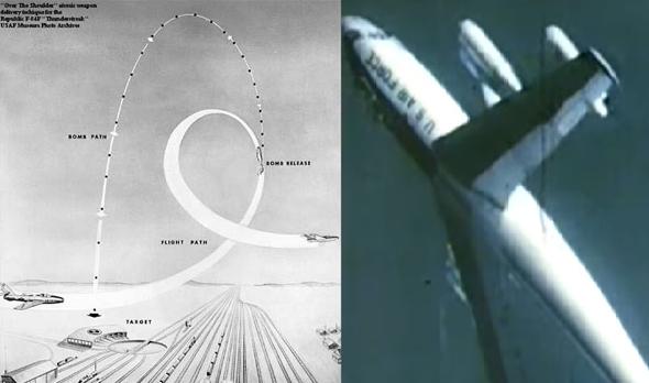 מימין: B47 באמצע הלופ, ומבנה ההטלה האנכית, צילום: USAF