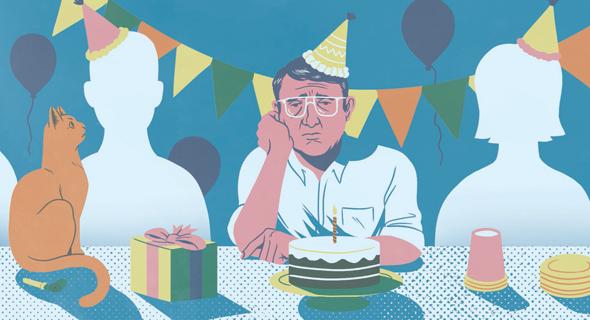 בדידות פייסבוק  איור יונתן פופר, צילום: איור: יונתן פופר