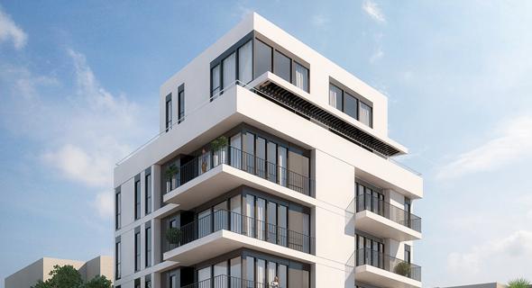 הדמיה לבית ברחוב סוטין 13. ביטול המרפסת מאיים על המיזם