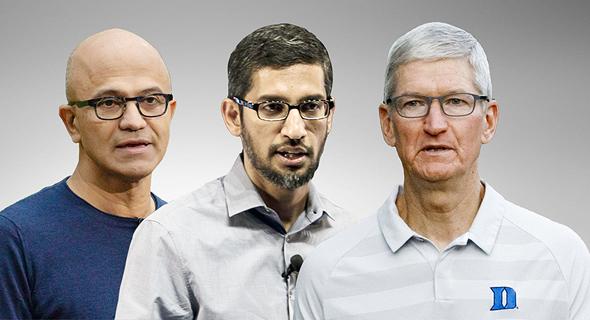 """מימין: טים קוק מנכ""""ל אפל, סונדאר פיצ'אי מנכ""""ל גוגל וסאטיה נדלה מנכ""""ל מיקרוסופט"""