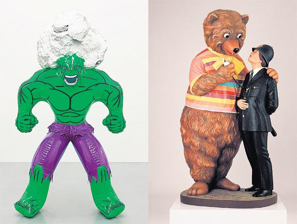 """מימין: """"דוב ושוטר"""" ו""""הענק הירוק"""" של קונס. להסיר רגשי אשם מהקהל"""