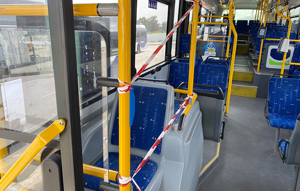 Israel: passengers are not allowed to seat near bus drivers. Photo: Lior Gutman