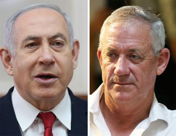 """מימין: יו""""ר כחול לבן בני גנץ וראש הממשלה בנימין נתניהו, צילום: אלכס קולומויסקי,"""
