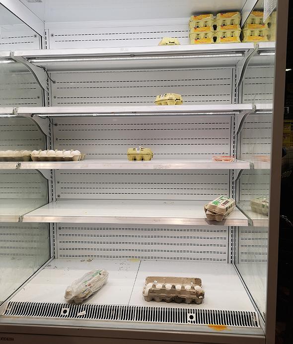 מדפי ביצים רקים בסופרמרקט, צילום: מיטל בריל