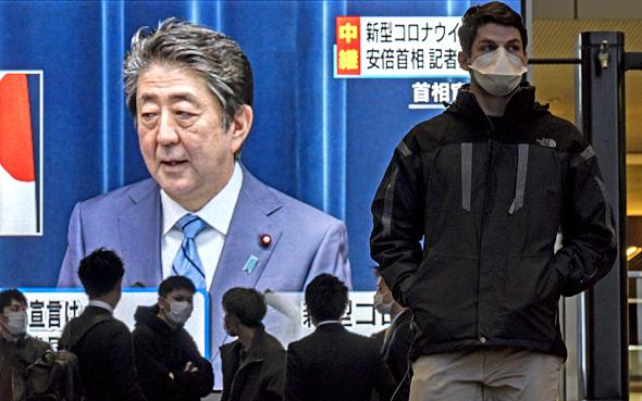 ראש ממשלת יפן אבה שינזו בנאום לאומה בעקבות משבר הקורונה, אתמול, צילום: גטי אימג