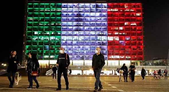 כיכר רבין אמש. הזדהות עם איטליה