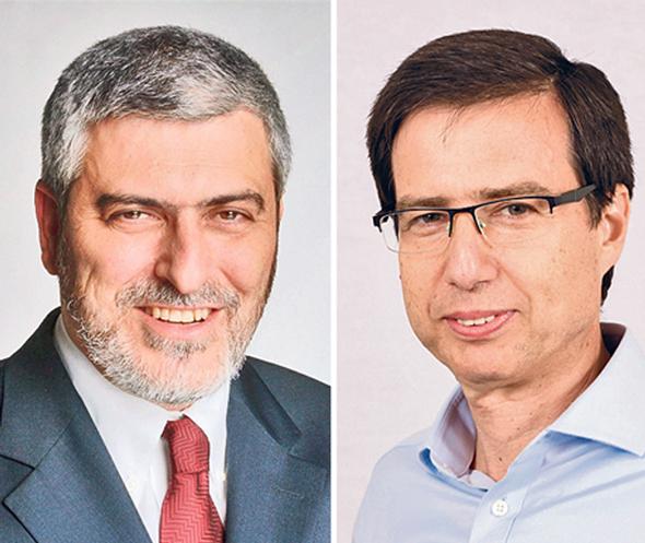 """מימין: מנכ""""ל לאומי חנן פרידמן ומנכ""""ל פועלים דב קוטלר"""