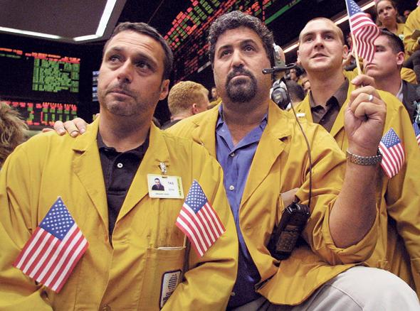 אזכרה בבורסה בשיקגו ב-13ה בספטמבר 2001 לקורבנות מתקפת הטרור. באותו שבוע הופסק המסחר לכמה ימים