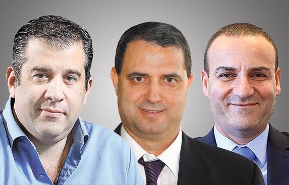"""מימין: שי דהן, מנכ""""ל אלדן, אלי אלעזרא, בעל השליטה באלבר ואסי שמלצר, יו""""ר ומבעלי שלמה החזקות"""