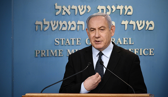 Prime Minister Benjamin Netanyahu holds a press briefing preventing the spread of Covid-19. Photo: Yoav Dudkevitch