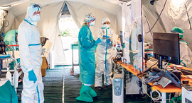בית חולים שדה באיטליה, צילום: בלומברג