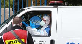 An ambulance taking a corona patient to a hospital in Israel. Photo: Abigail Uzi