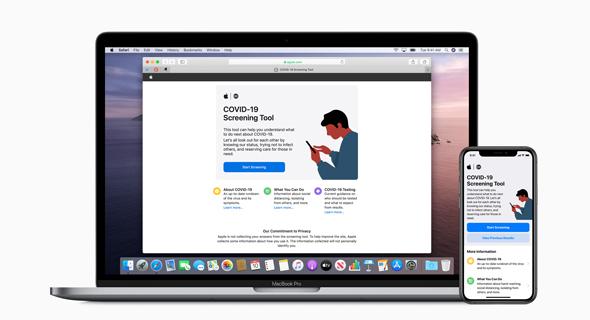 אפליקציית הקורונה של אפל, צילום:  Apple inc.