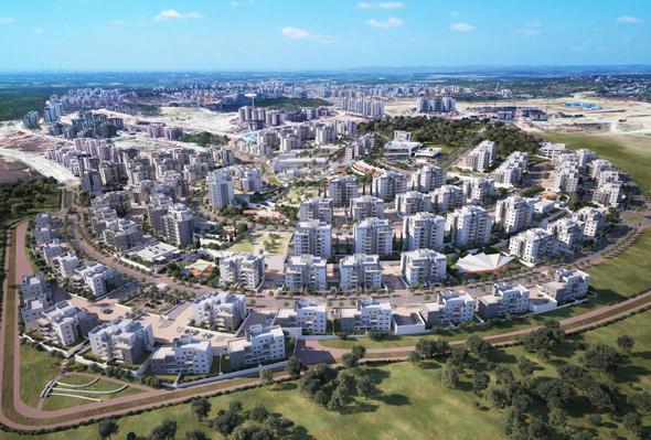 הדמיית הפרויקט של שפיר. שכונה בת 1,519 דירות, הדמיה: חברת שפיר