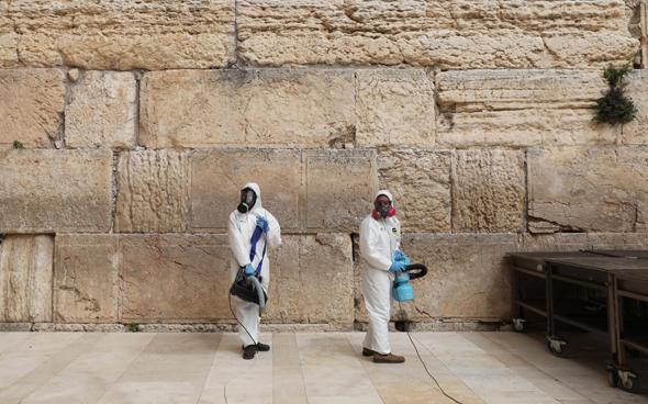 Coronavirus sanitizing at the Western Wall in Jerusalem. Photo: API