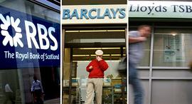מימין רויאל בנק אוף סקוטלנד ברקליס לוידס בנקים , צילומים: בלומברג