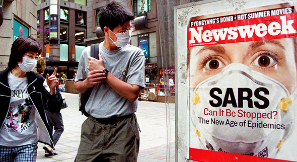 People on the streets of Honk Kong during SARS outbreak in 2003. Photo: AP