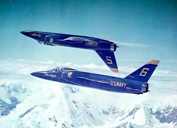 צמד טייגרים בצבעי המלאכים הכחולים, הצוות האווירובטי המפורסם של חיל הים האמריקאי, צילום: USN