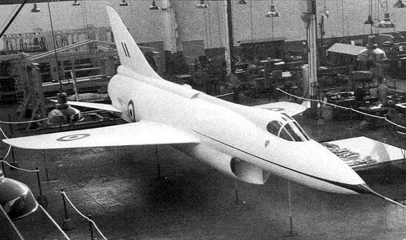 הוקר P.1121, מטוס העל הבריטי. בתמונה זו מוצג כמוק-אפ בקנה מידה מלא, צילום: secretprojects