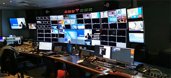 """חדר השידורים הריק של חדשות 13 היום, צילום: יח""""צ"""