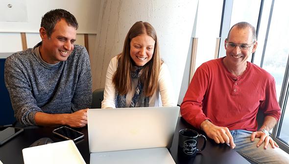 Eitan Ron (right)  Dr. Michal Tzuchman Katz and Tal Goldberg are the founders of Kahun. Photo: Ariel Sacerdoti