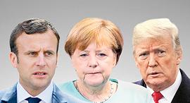 מימין דונלד טראמפ, אנגלה מרקל ועמנואל מקרון, צילום: רויטרס, אי פי איי, אם סי טי
