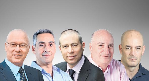 """מנכ""""לי חברות הנדל""""ן (מימין): אייל חנקין, עזריאלי; נתן חץ, אלוני חץ; אופיר שריד, מליסרון; דודו זבידה, מבנה; חיים כצמן, גזית גלוב"""
