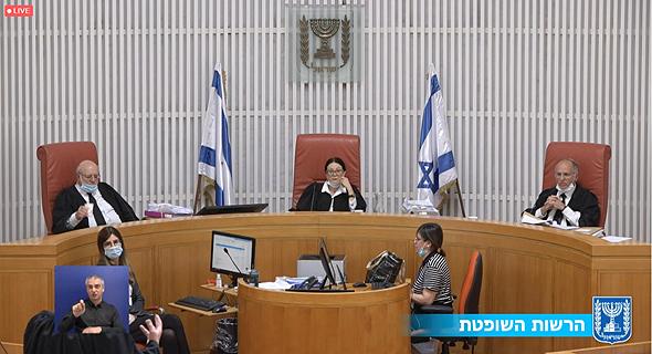 """שופטי בג""""ץ עם מסיכות, בדיון היום, צילום: אתר בתי המשפט"""