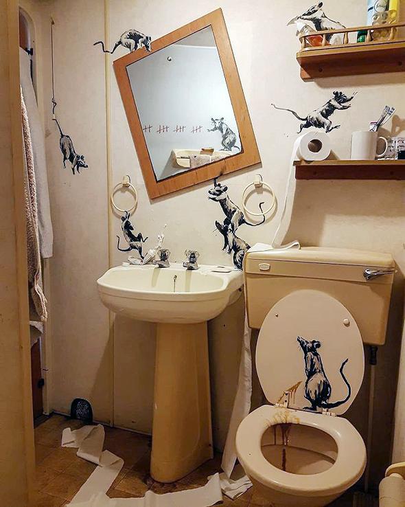 חדר האמבטיה החדש של בנקסי, צילום: banksy/Instagram
