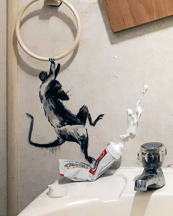 מהומה באמבטיה, צילום: banksy/Instagram