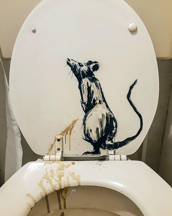 ולסיום, העכברוש על האסלה, צילום: banksy/Instagram