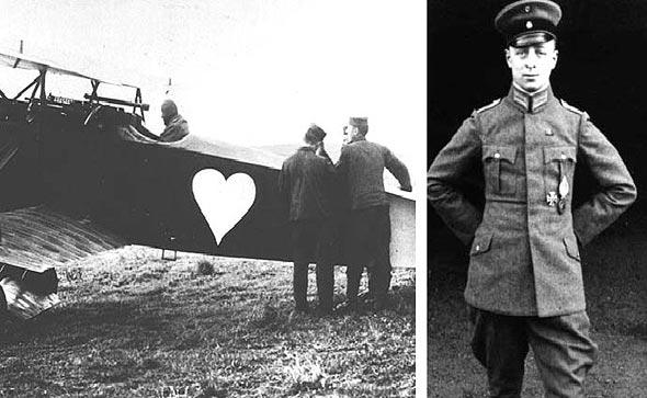 רוזנשטיין ומטוסו, עליו צויר לב לבן, צילום: warnepieces and Wikimedia