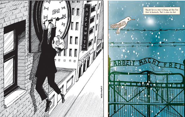 """מימין: דפים מתוך """"ציפור לבנה"""" של ר""""ג פלאסיו ו""""הדור השני"""" של מישל קישקה. """"אנשים תמיד התחברו לסיפורים עם תמונות"""""""