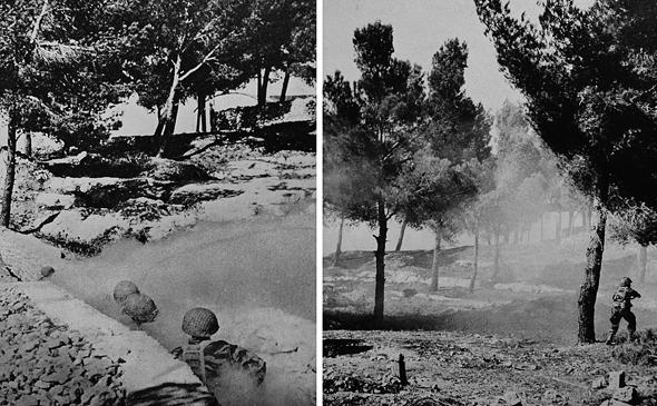 """חיילי צה""""ל בשעת לחימה בגבעת התחמושת, צילום: (deror_avi (Wikimedia"""