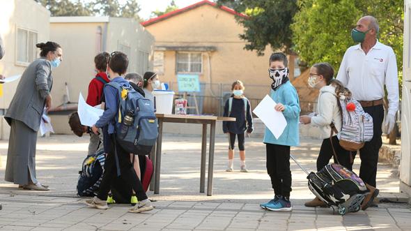 Students returning to school. Photo: Elad Gershgoren