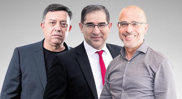 """מימין מנכ""""ל פרטנר איציק בנבנישתי מנכ""""ל משרד התקשורת נתי כהן ומנכ""""ל סלקום אבי גבאי"""