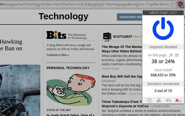 תוסף חוסם פרסומות Ublock Origin