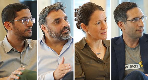 Adi Azaria, Workiz (Right) Michal Tsur, Kaltura; David Drai, Anodot; Guy Nizan, IntSights
