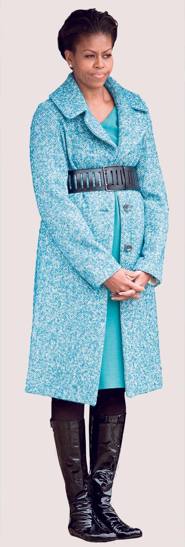 מישל אובמה במעיל של ג