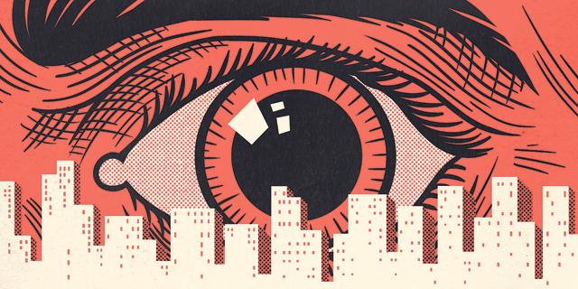 איור מעקב וזיהוי פנים, איור: יונתן פופר