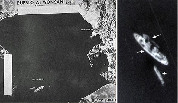 תמונות הספינה פואבלו שצילם המטוס. וזה, מגובה של יותר משמונים אלף רגל, ובמהירות מאך 3, צילום: CIA