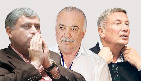 מימין נוחי דנקנר אליעזר פישמן ו מוטי זיסר, צילומים: אוראל כהן , נמרוד גליקמן