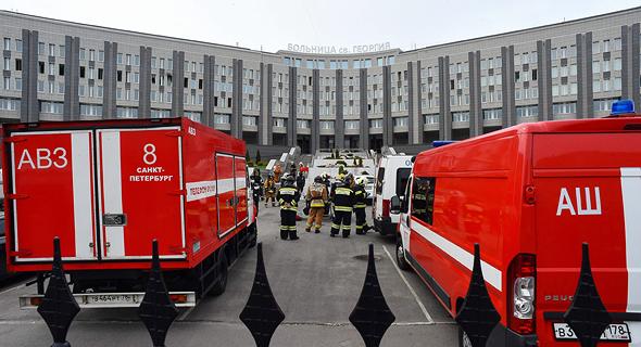 """שריפה בבי""""ח ברוסיה, צילום: איי אף פי"""