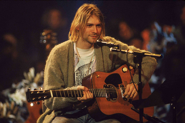 קוביין והגיטרה בהופעה ההיסטורית, צילום: גטי